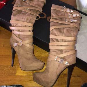 Bebe knee high heeled suede boots